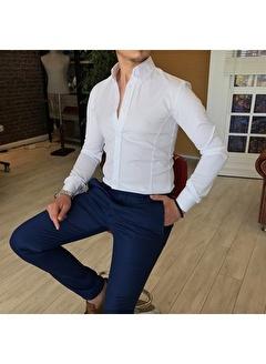 Terzi Adem 3337 İtalyan Stil Slim Fit Dik Yaka Saten Erkek Gömlek Beyaz T4754